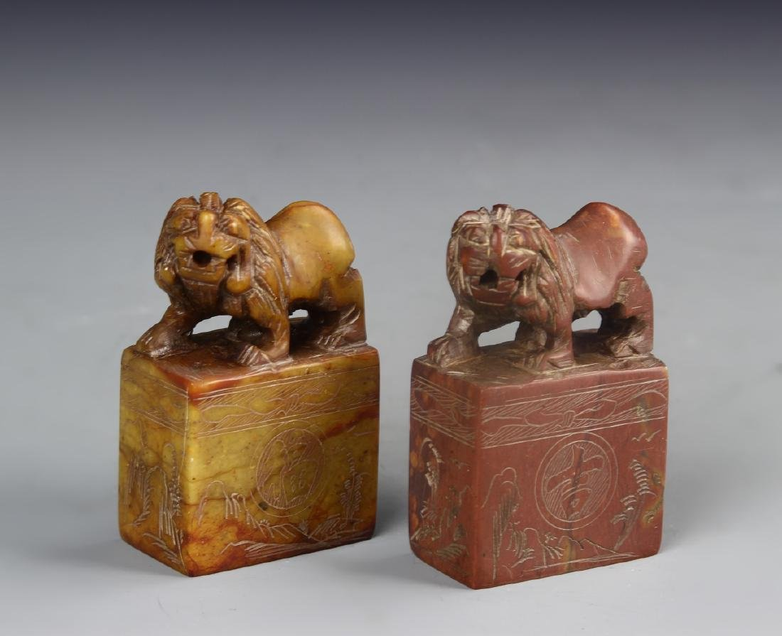Chinese A Pair Of Shoushan Stone Seal Chops