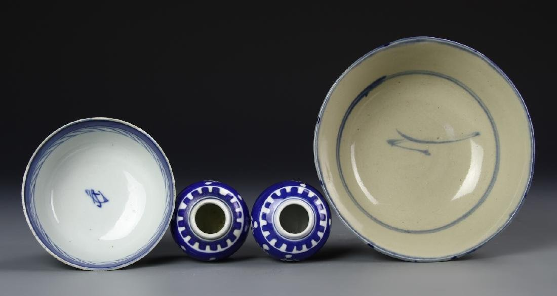 APO MIni Blue And white Jar With Two B+W Bowls - 3