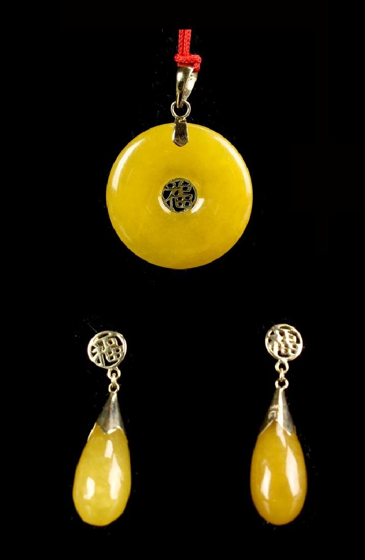 Chinese Yellow Pendant And A Pair Of Earrings