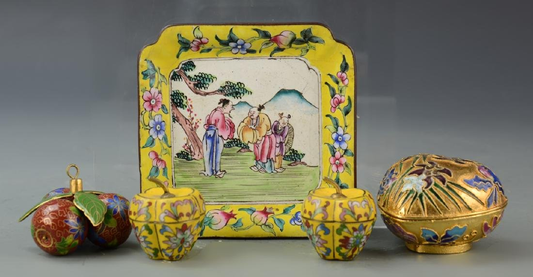 Chinese Five Cloisonne Items