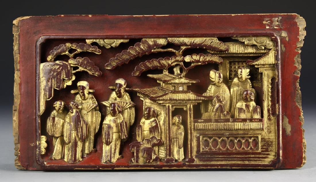 Chinese Gilt Wood Cared Panel