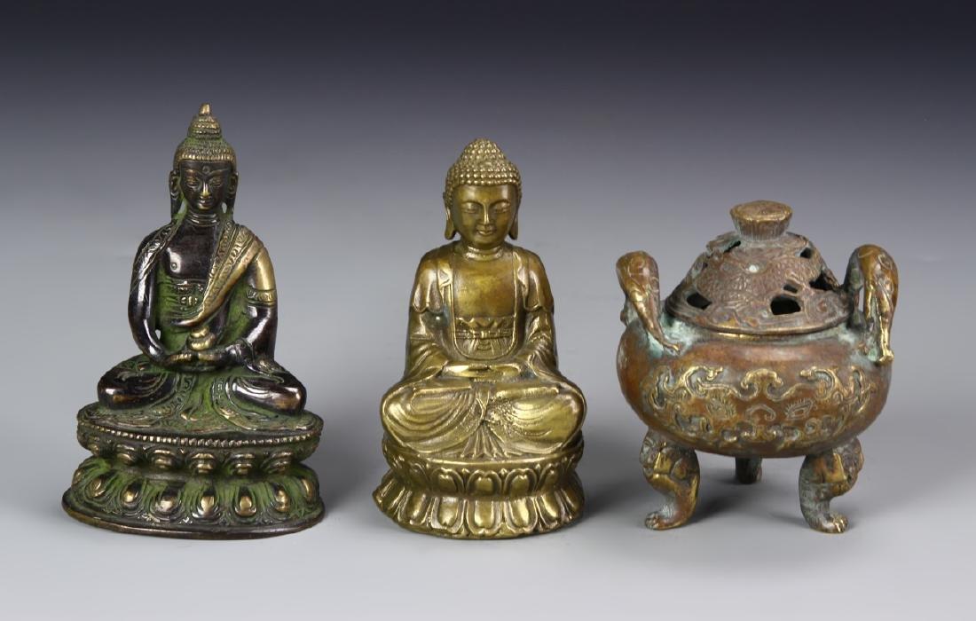 Chinese Bronzer and Two Bronze Buddha