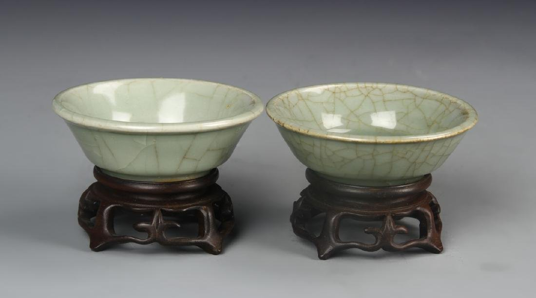 Chinese A Pair Of Celadon Bowls With Stand