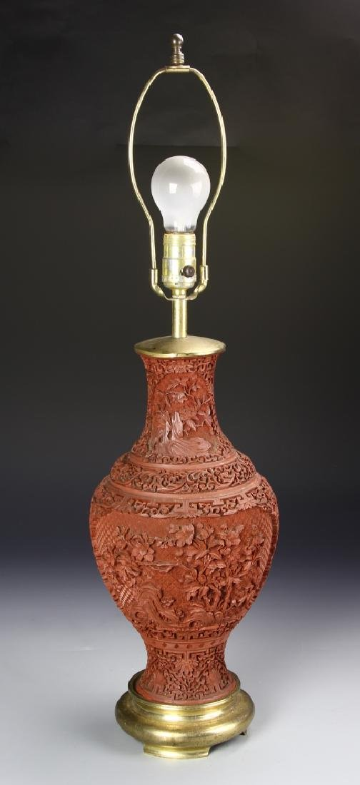 Chinese Lacquer Lamp
