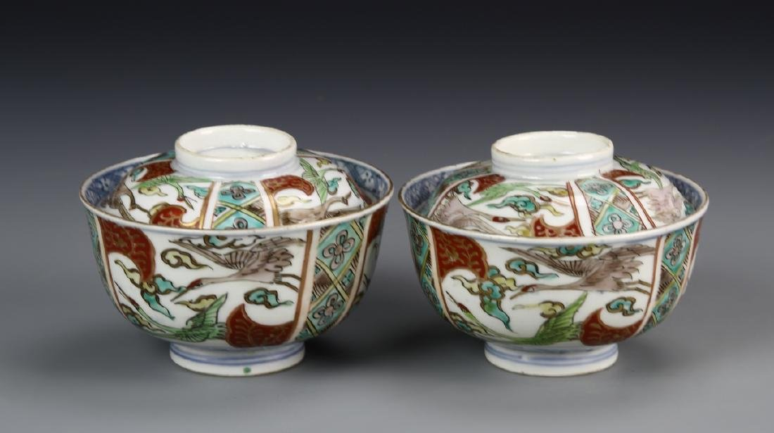 Japanese A Pair Of Imari Teacups With Covers