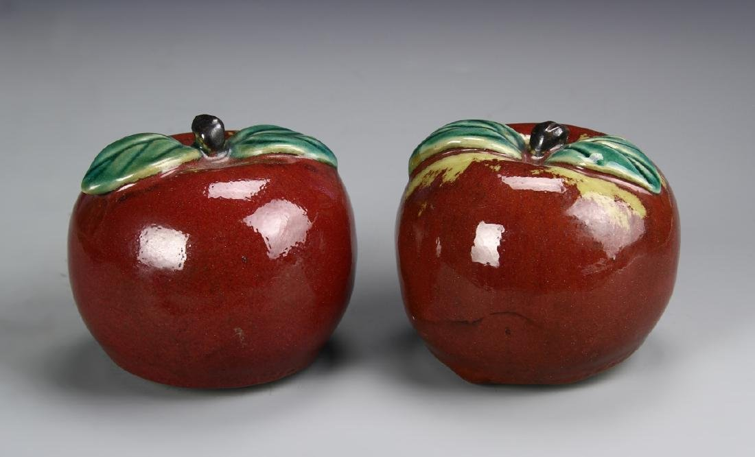 Chinese A Pair Of Porcelain Apples