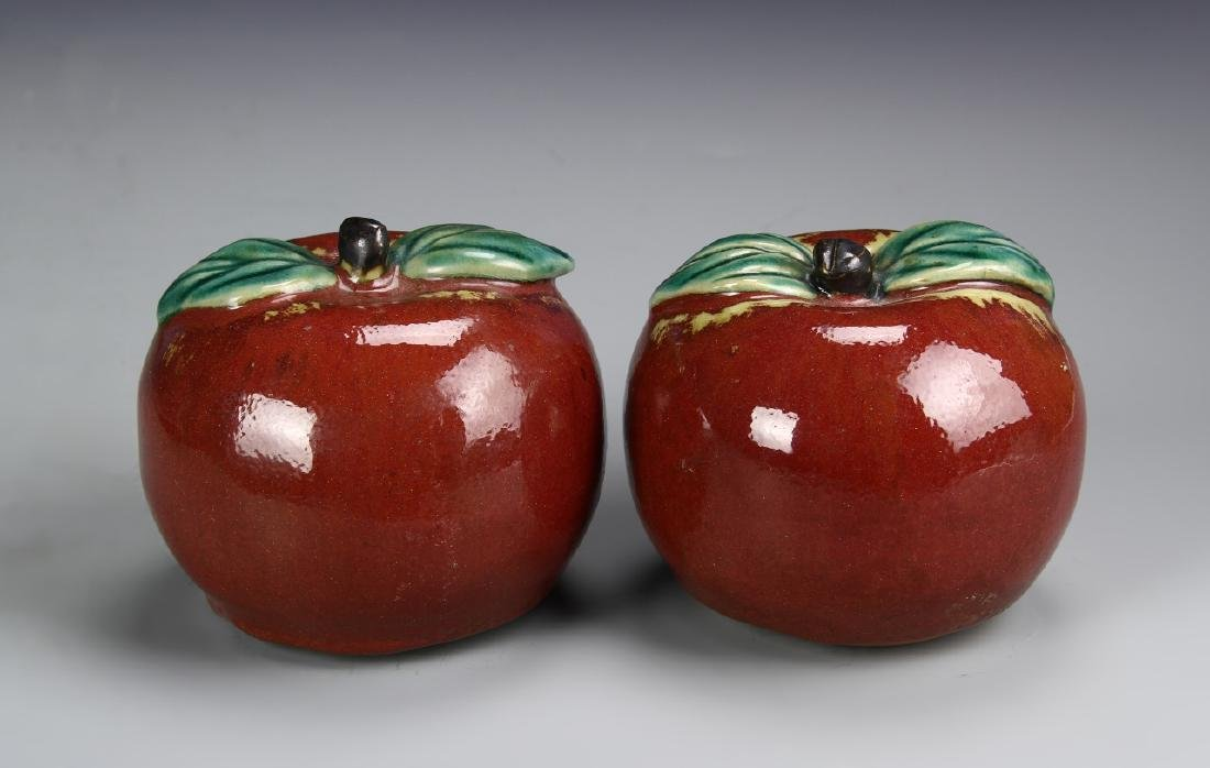 Chinese A Pair Of Porcelain Apples - 2