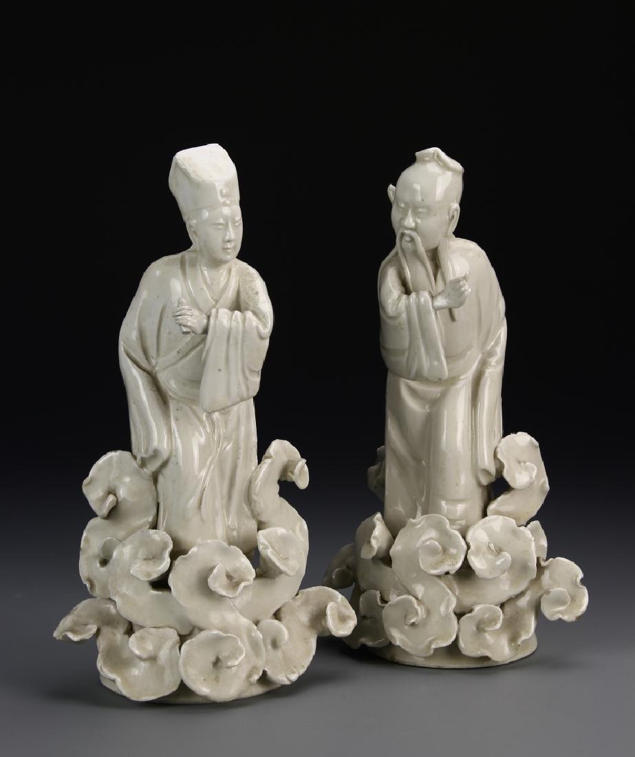 China 19th Century Pair of Blanc De Chine Wiseman