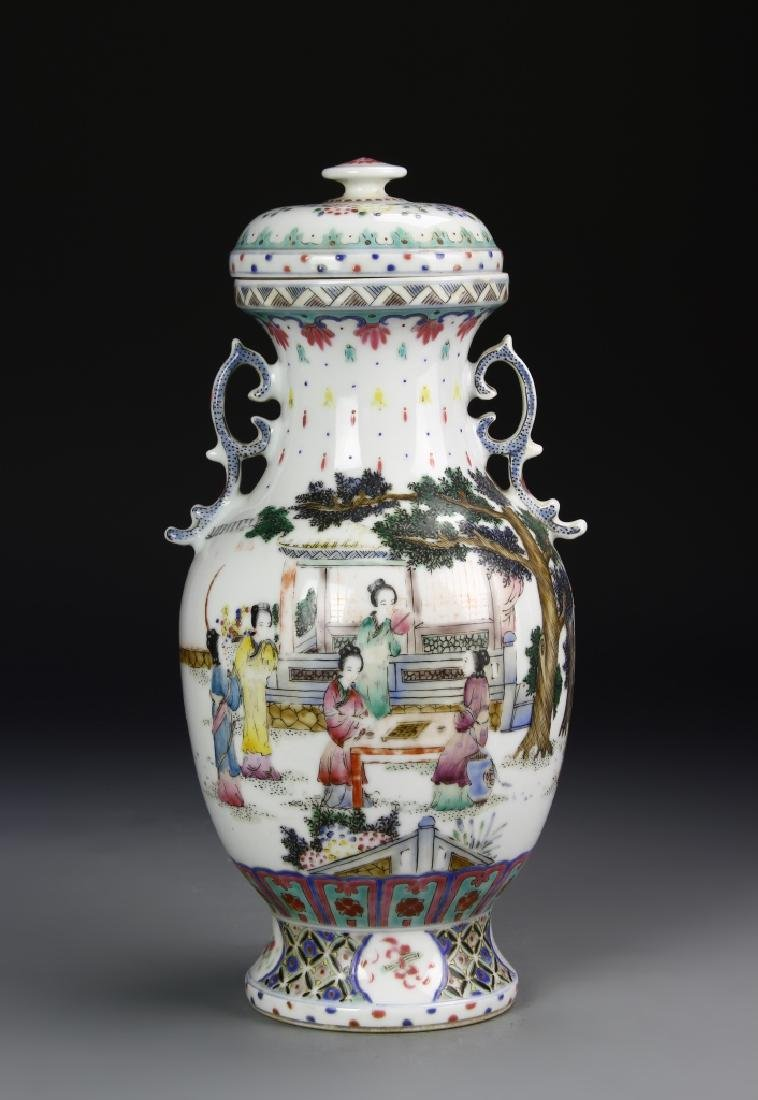 Chinese Famille Rose Vase With Cover