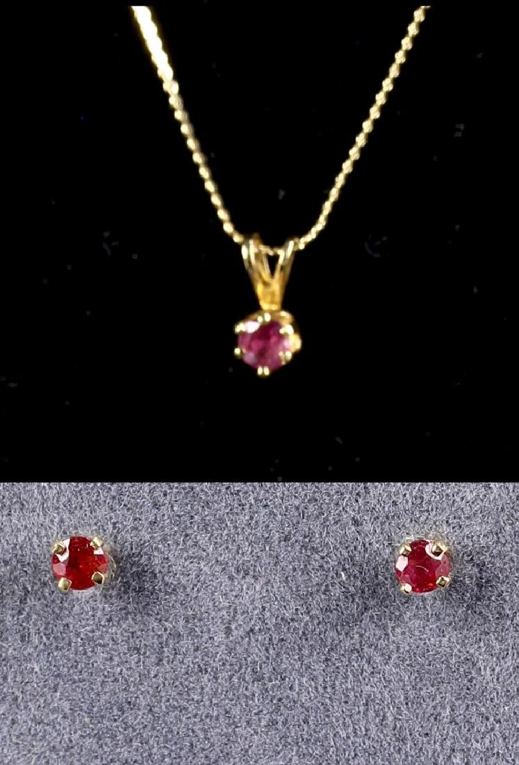 14k Gold Necklace With Ruby And A Pair Of Gold Rub