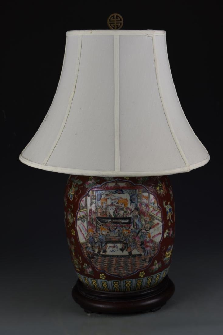 Chinese Famille Rose Vase Lamp