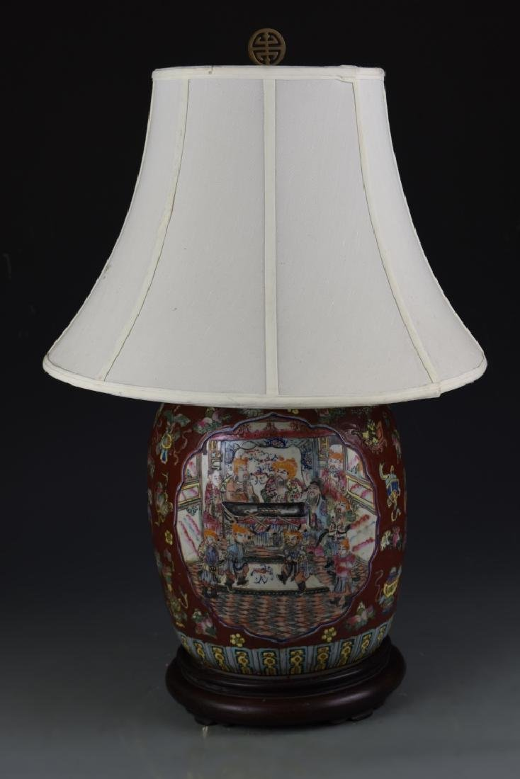 Chinese Famille Rose Vase Lamp - 2