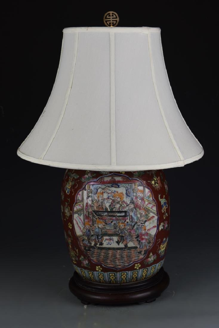 Chinese Famille Rose Vase Lamp - 3