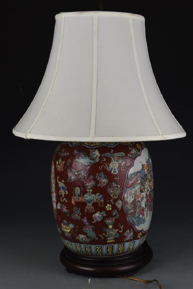 Chinese Famille Rose Vase Lamp - 4