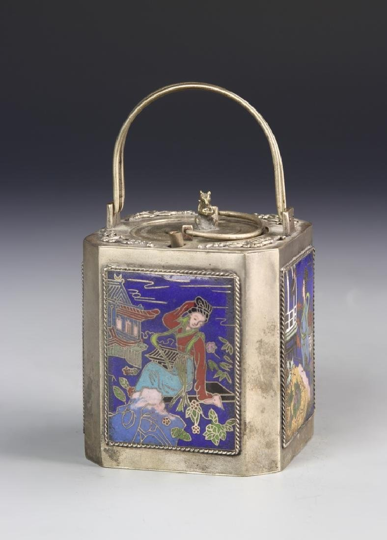 Chinese Enameled Metal Wine Pot