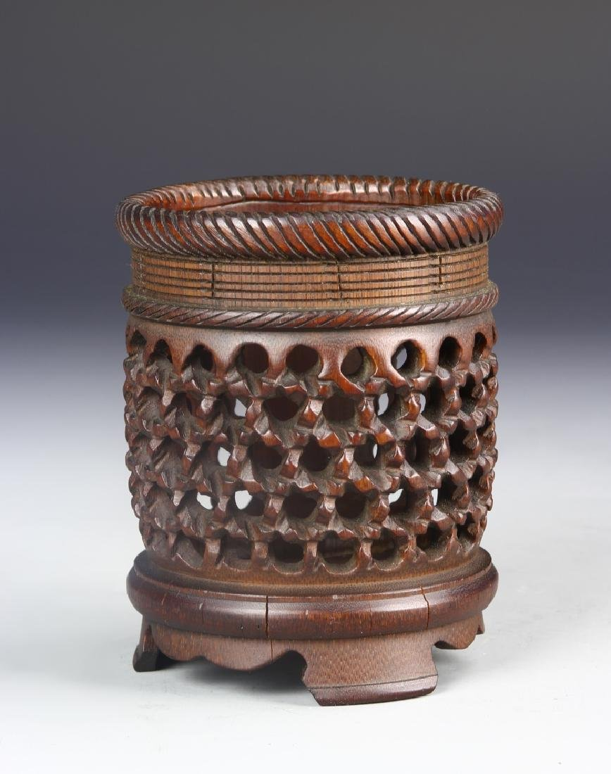 Chinese Carved Bamboo Brush Pot - 2