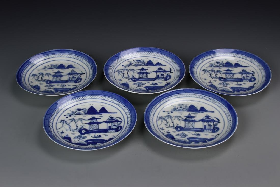 Chinese Five Blue And White Dishes