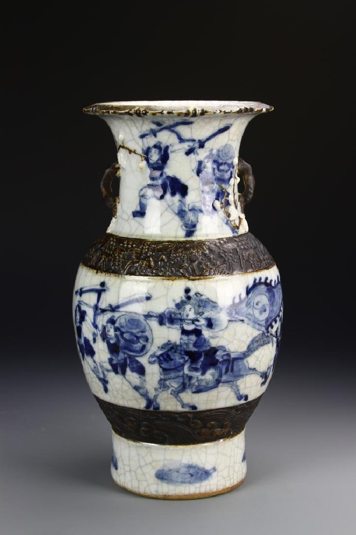 566Chinese 18th Century Export Blue and White Vase - 4