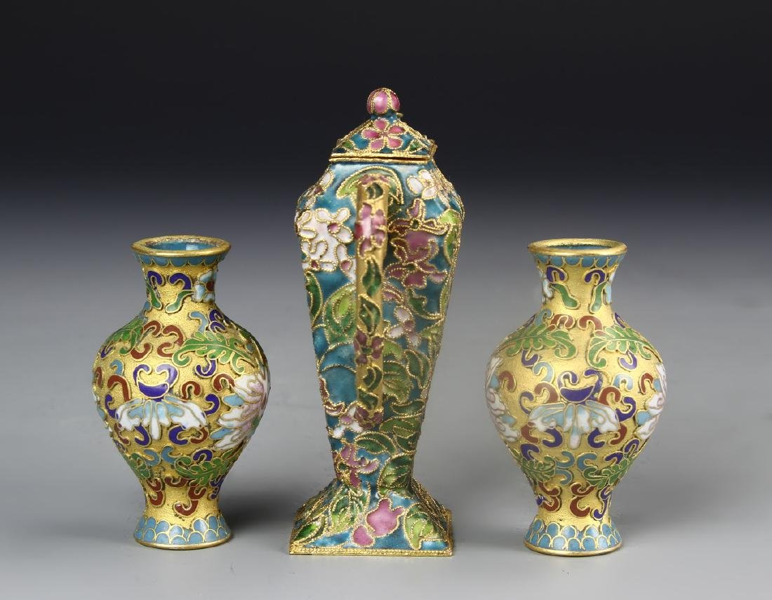Chinese A Pair Of Cloisonne Vases And Wine Pot - 2