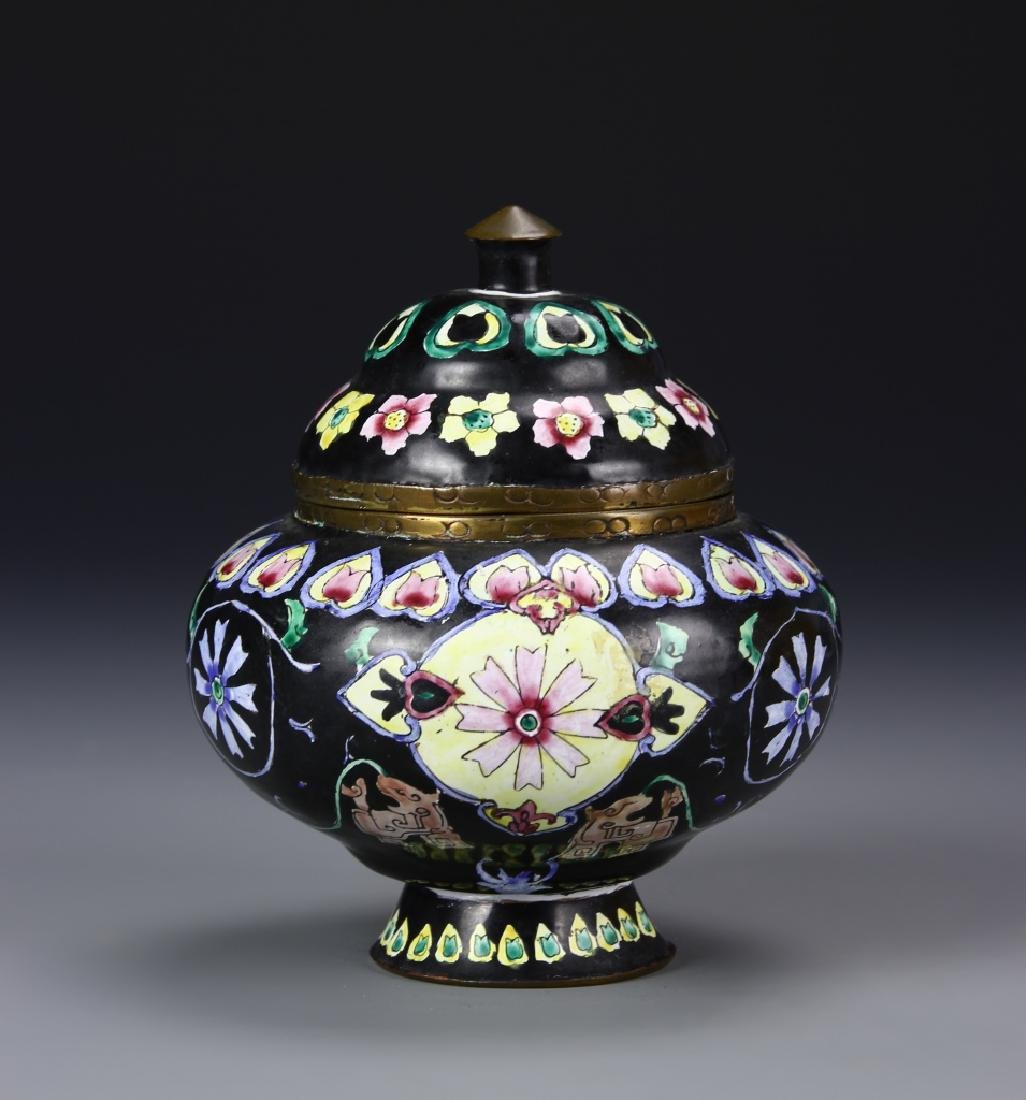 Chinese Enameled Jar With Cover