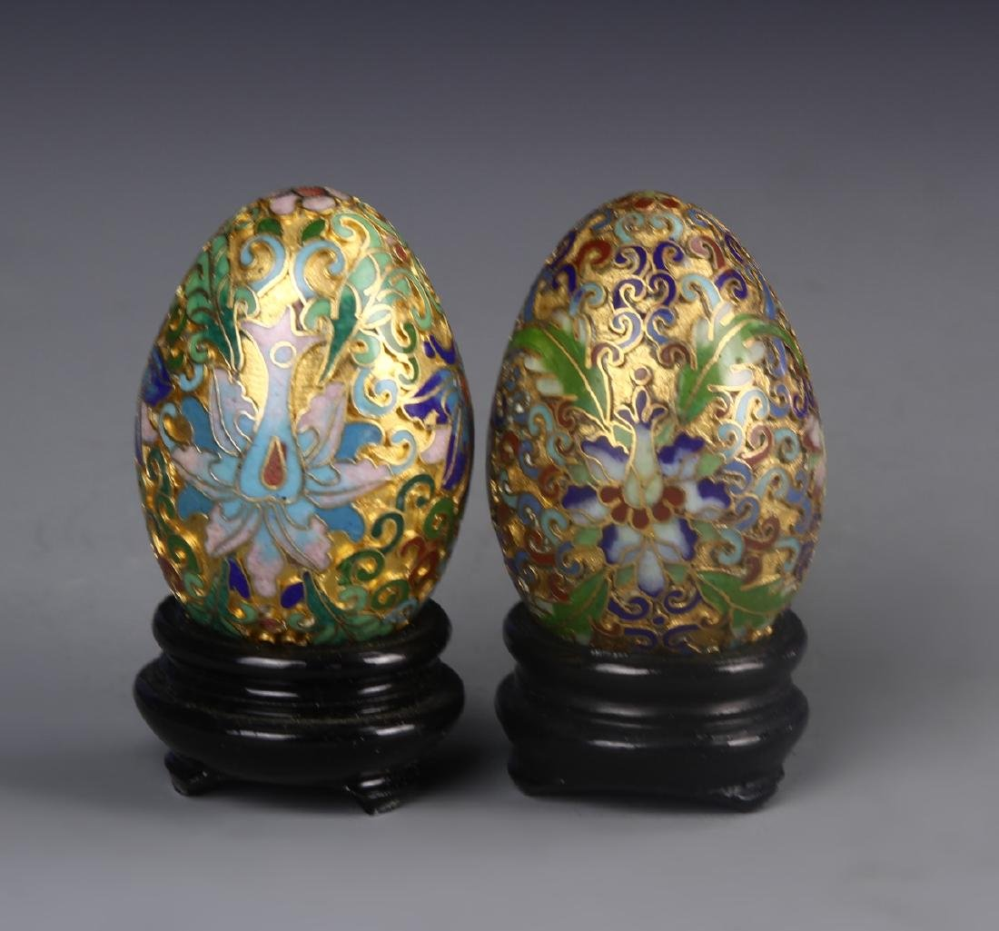 Chinese A Pair Of Cloisonne Eggs With Base