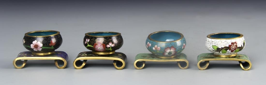 Chinese Four Cloisonne  Mini Pot With Base