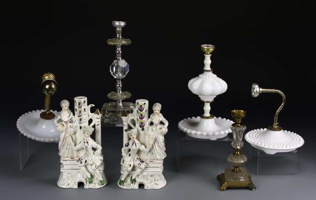 Group of 7 Art Glass/Lamp Bases
