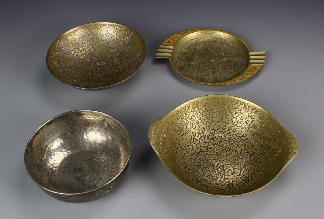 Four Asian Brass Bowls