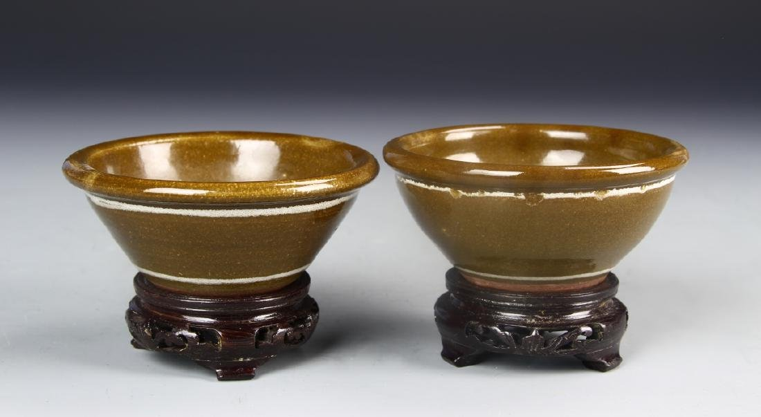 Pair Of Art Pottery Bowls With Base
