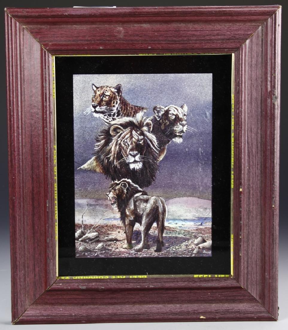 Framed Lion Art Work