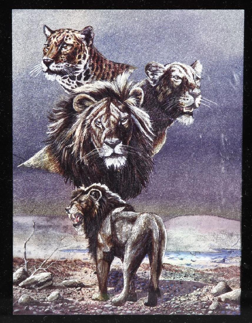 Framed Lion Art Work - 2