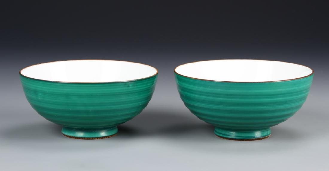 Japanese A Pair Of Green Glazed Bowls