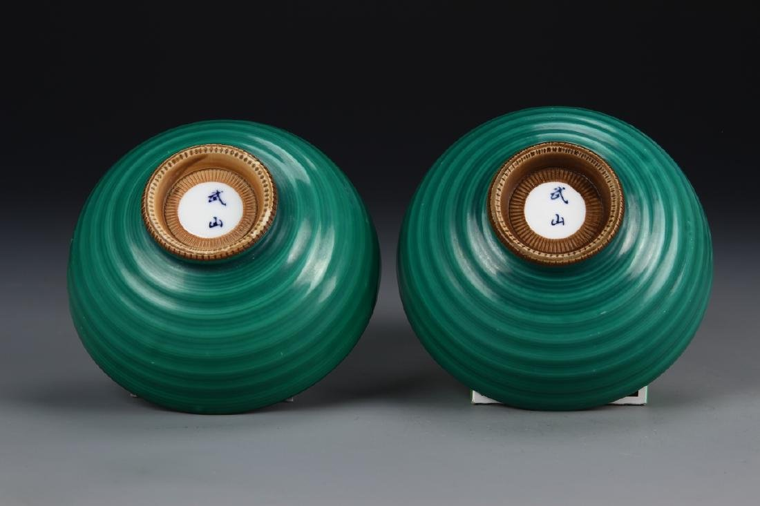 Japanese A Pair Of Green Glazed Bowls - 3