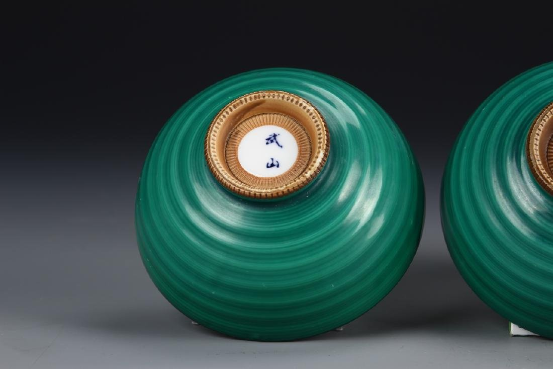 Japanese A Pair Of Green Glazed Bowls - 4