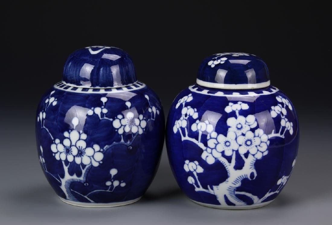 Two Blue And White Jar With Cover
