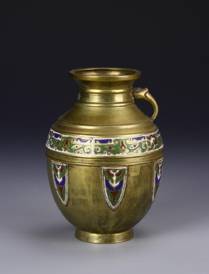 Brass Enameled Vase