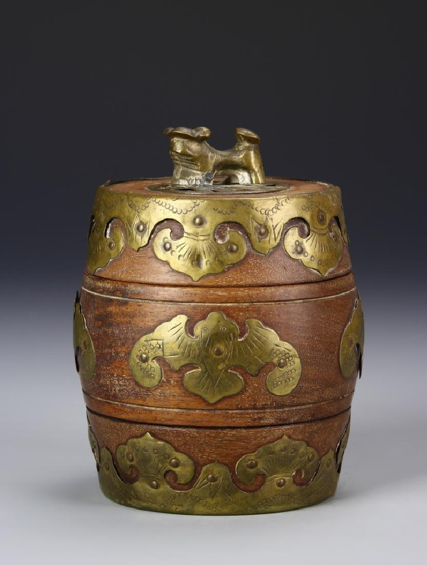 Chinese Wood Jar With Brass Works