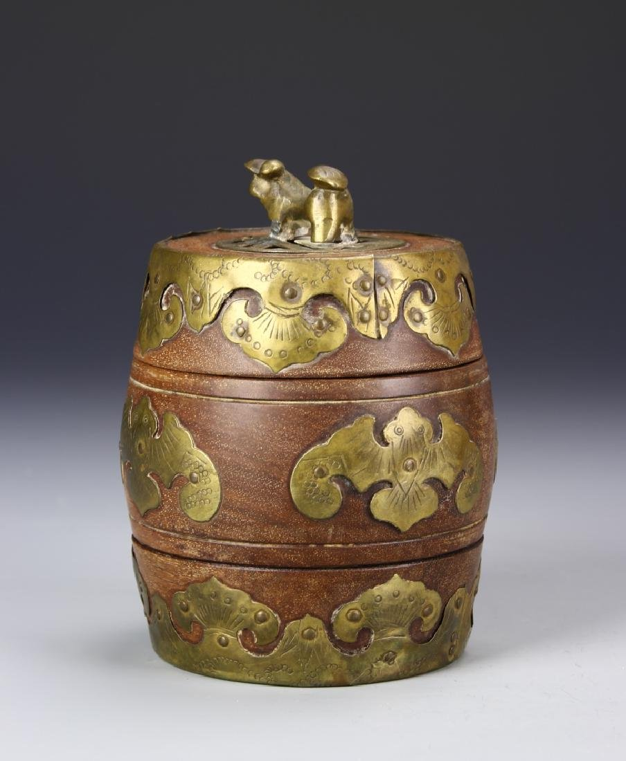 Chinese Wood Jar With Brass Works - 2