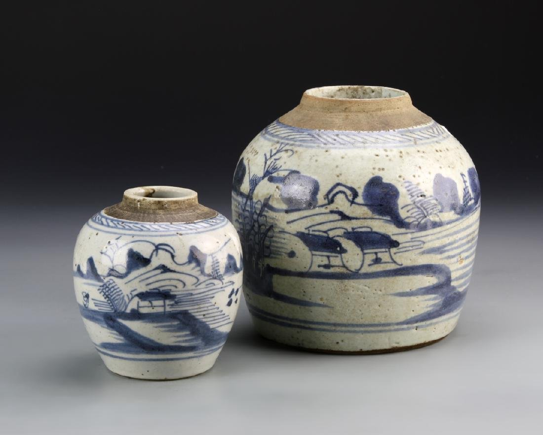 Two Chinese Export Blue and White Jars