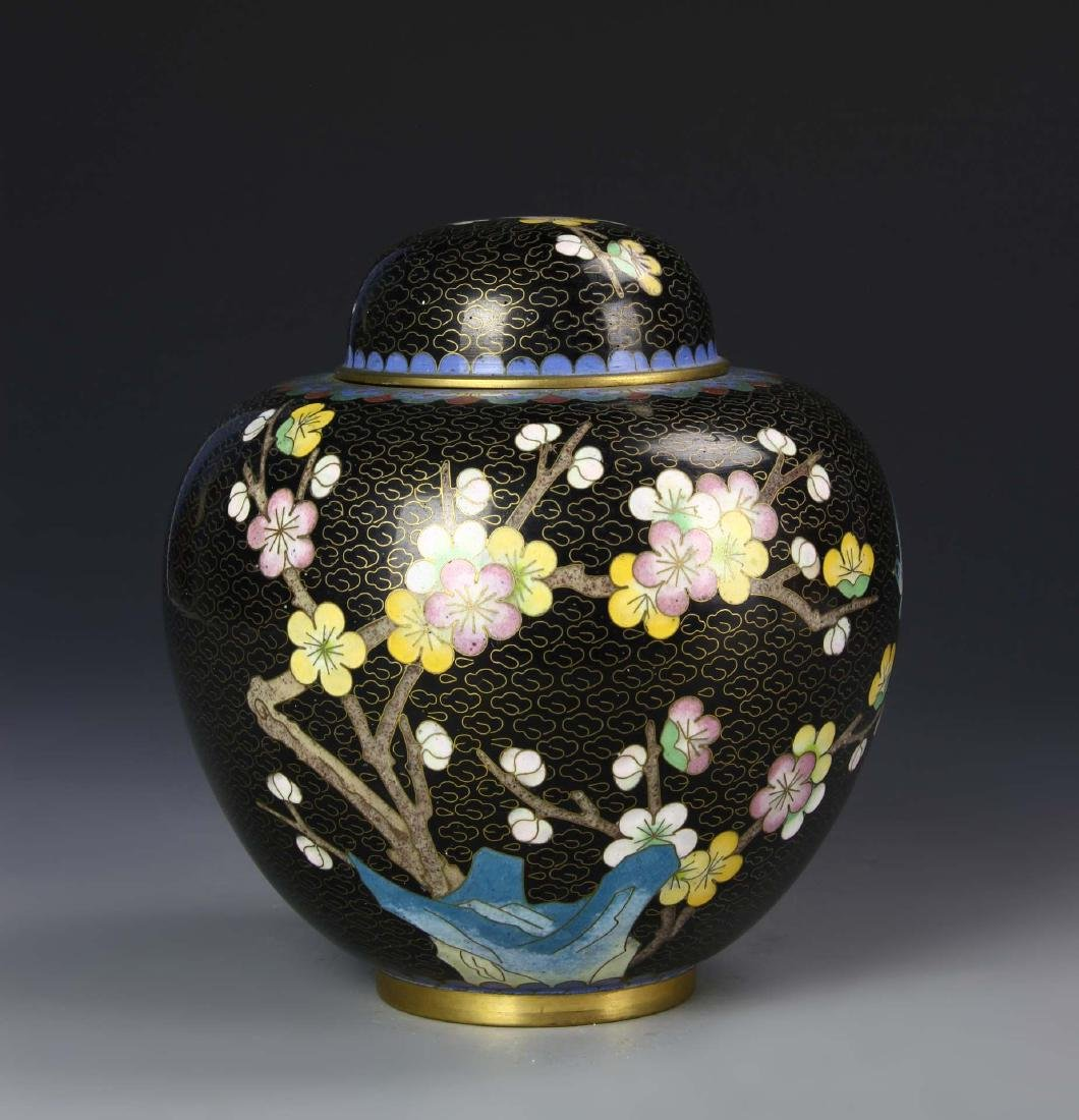 Chinese Cloisonne Jar with Cover
