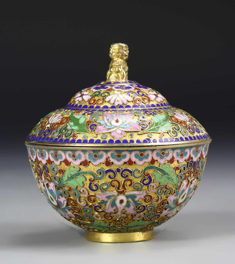 Chinese Cloisonne Bowl with Cover