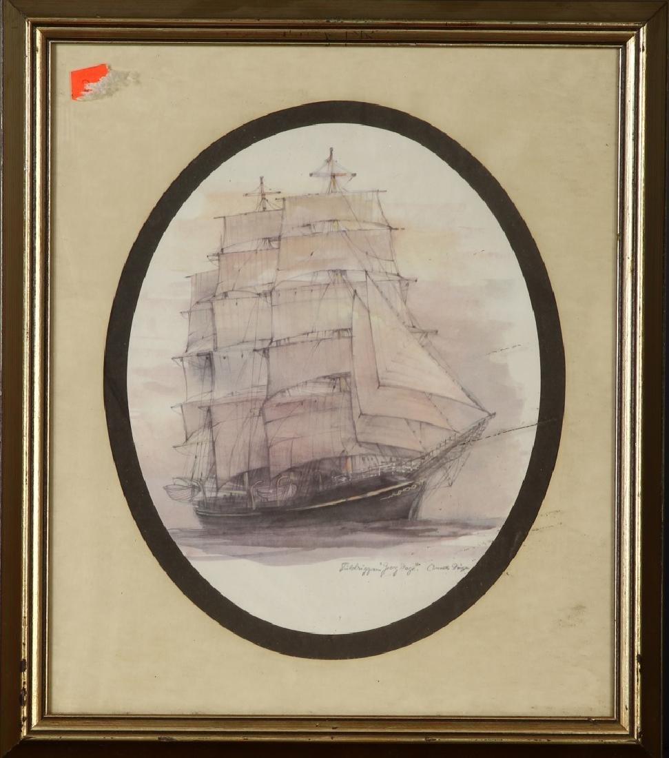 Vintage Framed Tallship Print