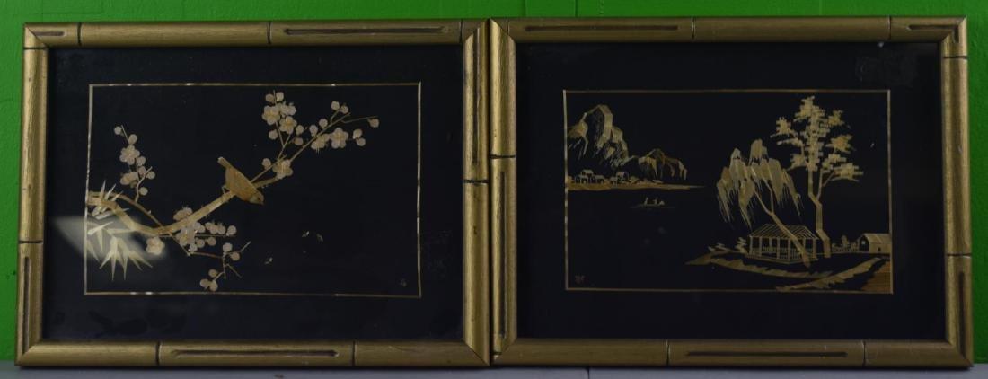 Pair of Framed Straw Artworks