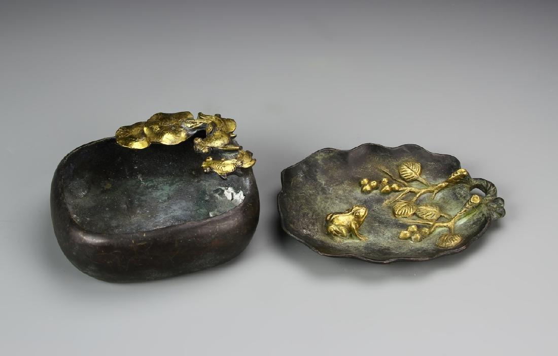 Two Chinese Bronze Brush Pots