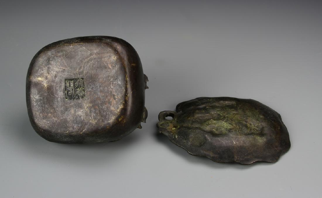 Two Chinese Bronze Brush Pots - 2