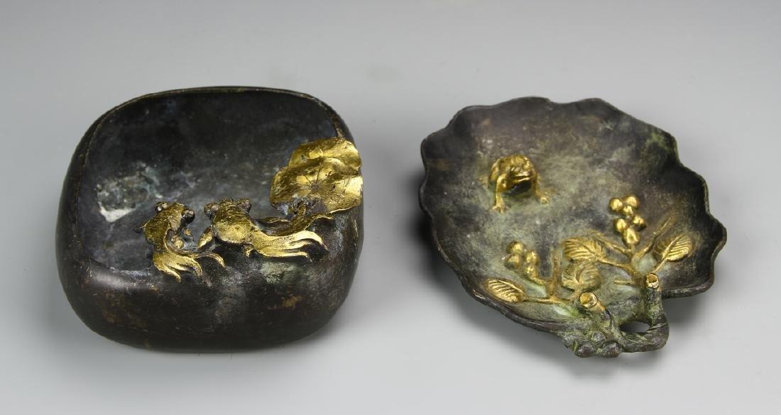 Two Chinese Bronze Brush Pots - 3