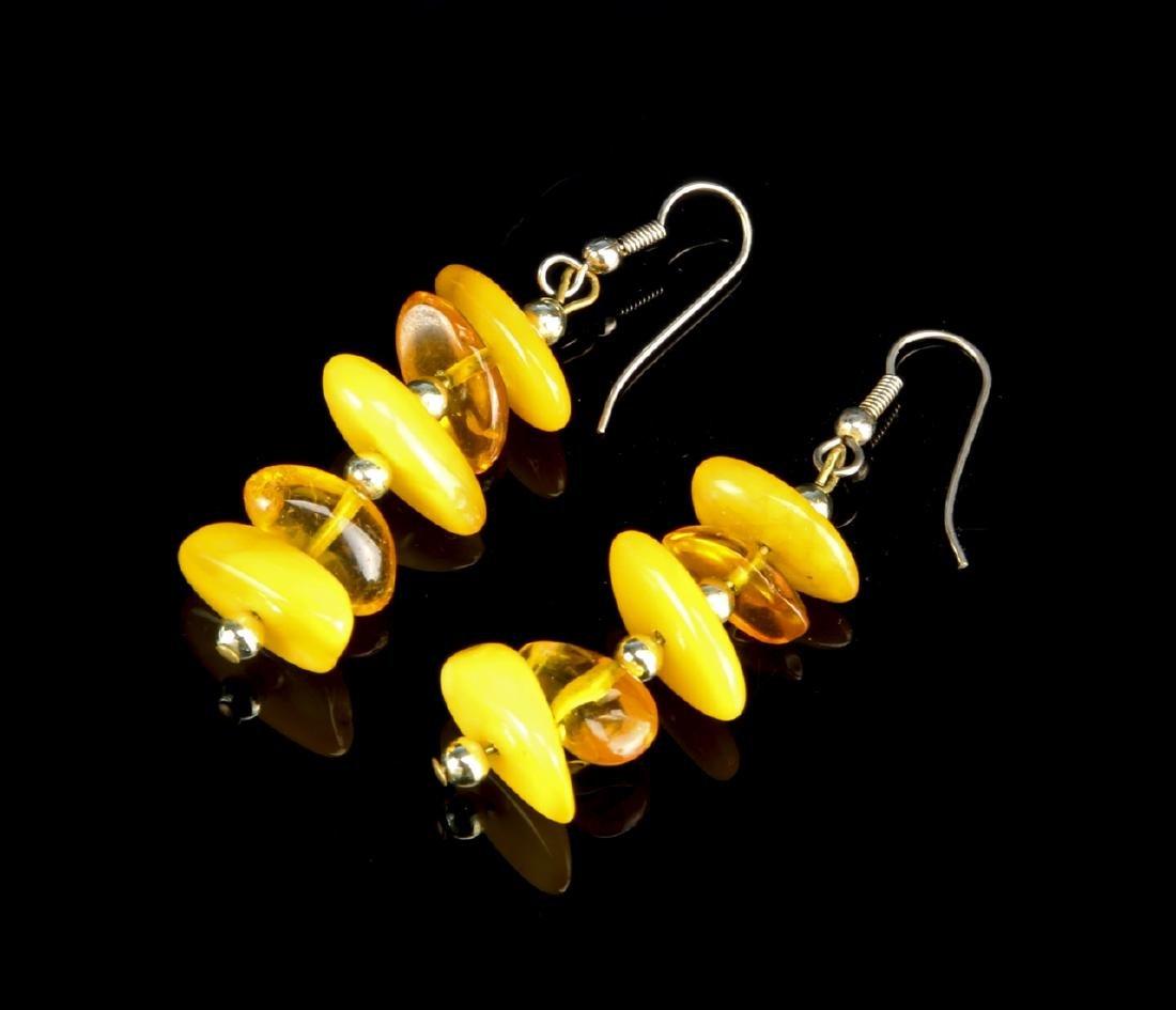 Pair of Chinese Amber Earrings - 2