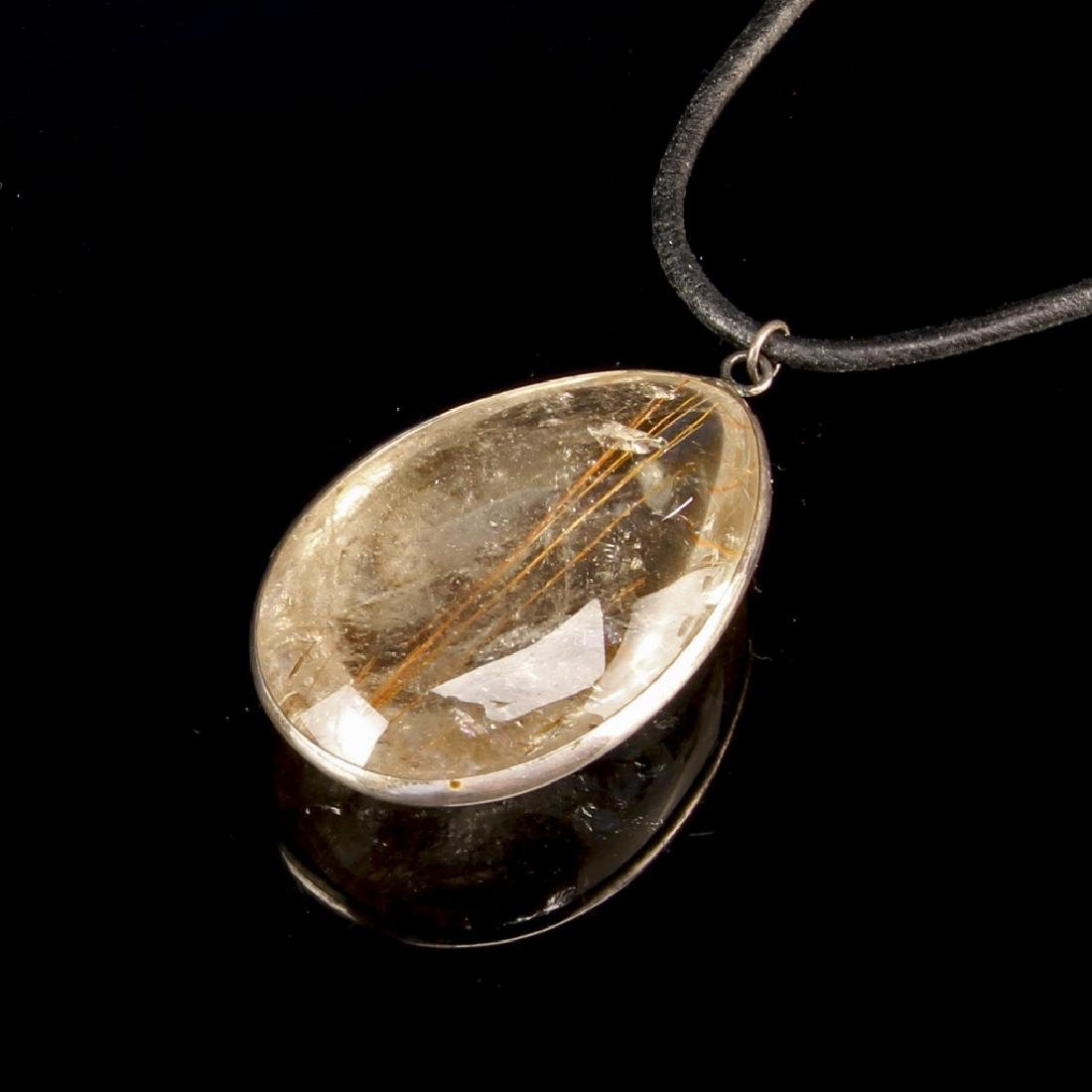 Chinese Crystal and Silver Pendant