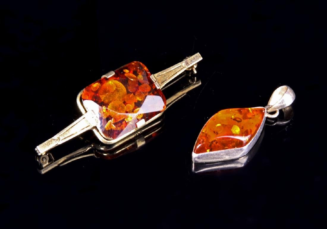 Chinese Silver and Amber Pin and Pendant