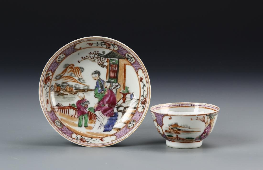 Chinese Famille Vert Cup and Plate